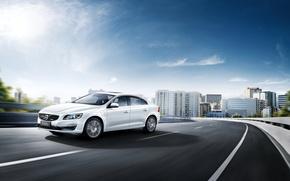 Картинка Небо, Белый, Volvo, Автомобили, 2015, Twin Engine, S60L