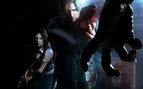Картинка девушка, рука, мужик, зомби, пушка, Resident Evil 6 art