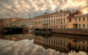 Картинка отражение, река, дома, Санкт-Петербург