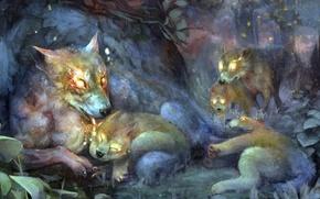 Картинка лес, игра, сумрак, арт, волки, волчата, волчица, dragon's crown, корона дракона логово