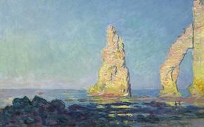 Обои море, пейзаж, картина, Клод Моне, Скала Игла на Этрета. Отлив
