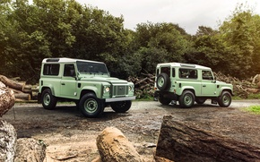 Картинка фото, Две, Land Rover, Range Rover, Автомобили, Салатовый, Defender 90 Heritage