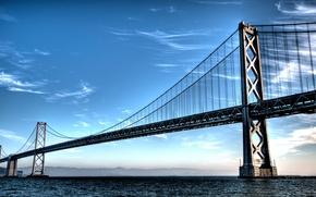 Обои небо, вода, мост, горы