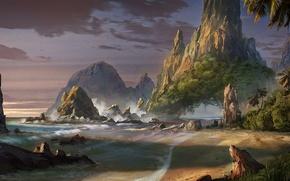 Картинка море, пляж, пейзаж, скалы, арт, фантастический мир, Waqas Mallick