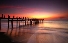Картинка sunrise, beach, landscape, море, sunset, океан, солнце, sky, scenery, природа, sun, ocean, sand, рассвет, небо, ...