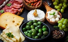 Обои оливки, перец, балык, сыр, колбаса, еда, ветчина, виноград, посуда