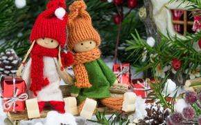 Картинка украшения, вишня, игрушки, елка, куклы, подарки, Новый год, new year, toys, Merry Christmas, cherry, decoration, …