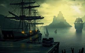 Картинка море, скалы, корабли, порт, паруса