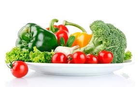 Обои перец, помидоры, овощи, брокколи, чеснок, салат