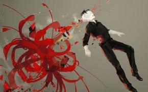 Картинка цветок, арт, Аниме, парень, Anime, Tokyo Ghoul, Tokyo Kushu, Токийский Гуль, Sasaki Haise