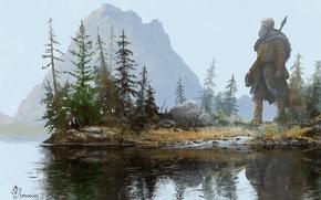 Картинка вода, деревья, пейзаж, отражение, арт, гигант, копье