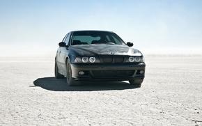 Обои солнце, пустыня, бмв, BMW, тачка, black car, m5 e39, круть