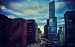 Картинка город, огни, река, здания, высота, небоскребы, вечер, Чикаго, Иллинойс