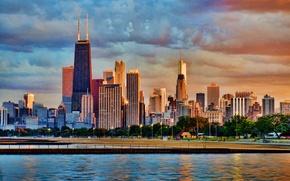 Картинка небо, облака, деревья, небоскреб, дома, Chicago, сша