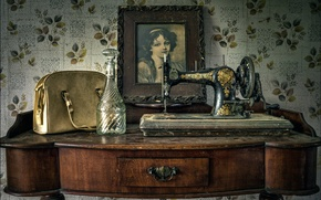 Картинка ретро, портрет, швейная машинка