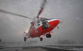 Картинка снег, вертолет, взлет