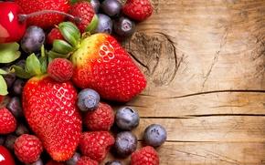 Картинка fruit, food, currants, raspberries, cherry, ягоды, малина, strawberries, berries, фрукты, еда, смородина, клубника
