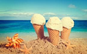 Картинка песок, пляж, мороженое, summer, beach, рожок, sea, sand, dessert, ice cream