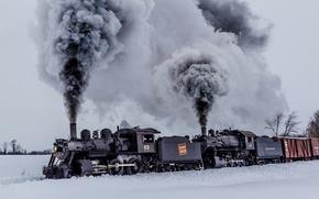 Картинка зима, природа, дым, вагоны, поезда, паровозы