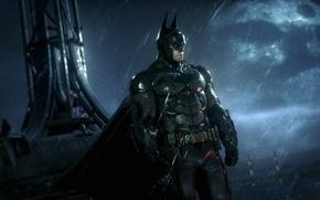 Картинка ночь, Луна, Дождь, Batman, night, Бетмен, Arkham City, Брюс Уэйн, Bruce Wayne, the moon, Аркхам, …