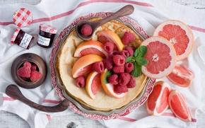 Картинка ягоды, малина, еда, фрукт, баночки, цитрус, блины, мята, грейпфрут, джем, варенье, блинчики, Anna Verdina