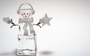 Обои новый год праздник, снеговик, лед