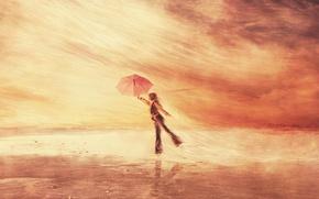 Обои человек, ветер, зонт