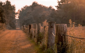 Картинка дорога, забор, вечер, сумерки