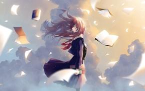 Картинка небо, облака, ветер, книги, рыжая, школьница, листки, ранец, матроска