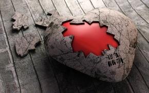 Картинка сердце, доски, корка
