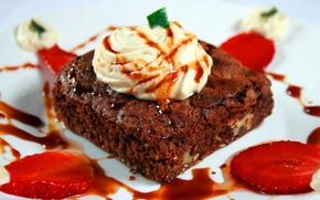 Обои лакомство, фон, десерт, сладкое, обои, тортик, еда, пирожное, шоколад, крем, клубника