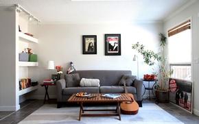 Обои комната, диван, стиль, дизайн, интерьер, мебель, гитара, картины