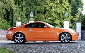 Картинка Оранжевый, Ниссан, Orange, Nissan, Car, 350z, Автомобиль, Wallpapers, Обоя, Сбоку, 350з, 2007–08