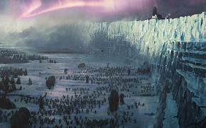 Картинка стена, война, великан, битва, север, стрелы, мамонт, войско, игра престолов, game of thrones, джон сноу, …