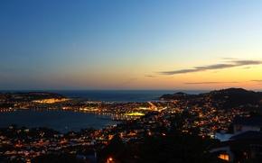 Обои Wellington, дома, панорама, побережье, Новая Зеландия, огни, море, ночь