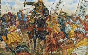 Картинка лошадь, рисунок, доспехи, Япония, войны, арт, всадник, мечи, военные, копья, шлемы, феодальная, 12 июня 1560 …