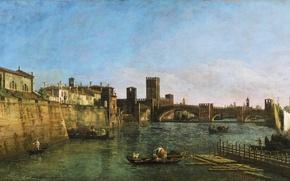 Картинка море, небо, мост, город, река, люди, стена, лодка, башня, дома, картина, набережная, италия, верона, Bernardo …