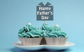 Картинка тарелка, выпечка, сладкое, кексы, Happy Father's Day