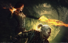 Обои магия, kings, witcher, the, assassins, девушка, колдун, огонь