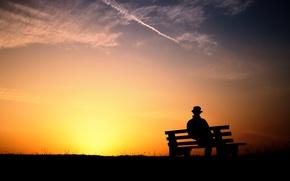 Обои скамейка, вечер, закат