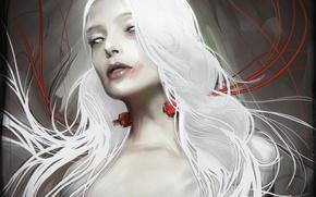 Обои yayashin, провода, белые волосы, арт, девушка