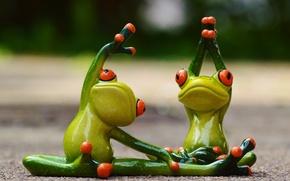 Картинка спорт, игрушки, гимнастика, лягушка, йога, лягушки, фитнес, фигурки, frog, смешной