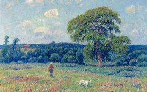 Картинка небо, деревья, картина, луг, Анри Море, Пейзаж с охотником и его собакой