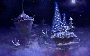 Обои новый год, елка, острова, ночь
