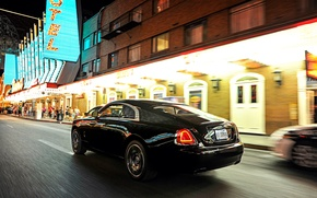 Картинка car, Rolls-Royce, автомобиль, в движении, beautiful, brilliant, шикарный, Wraith, Black Badge
