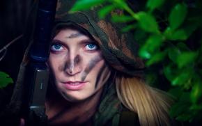 Картинка цвета, девушка, стиль, оружие, костюм, хаки, капюшон, girl, боевой, military, style, военный, глушитель, разведчик, scout, …