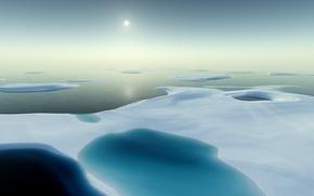 Обои лед, вода, солнце