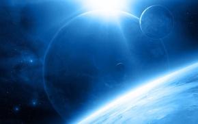 Картинка космос, звезды, звезда, планеты, спутники