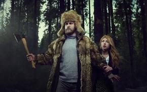 Картинка защита, девушка, топор, мужик, лес