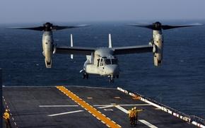 Картинка океан, палуба, взлет, конвертоплан, U.S. Marine MV-22 Osprey